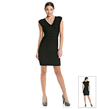 Calvin Klein Banded V-Neck Sheath