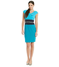 Calvin Klein Drapeneck Colorblock Sheath Dress