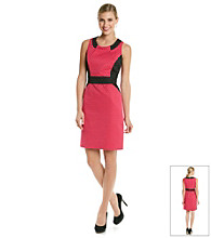 Tahari by Arthur S. Levine® Jacquard Dot Colorblocked Sheath