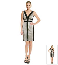 Jax Satin And Sequin Trimmed Sheath Dress