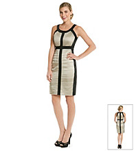 Jax Contrast Banded Satin Sheath Dress
