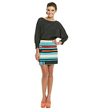 Jessica Simpson Batwing Mixed Media Belted Dress