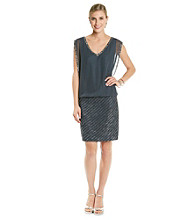 J Kara® Sequined Sheer Blouson Dress