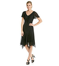 J Kara® Beaded Hanky Hem Tea Length Cocktail Dress