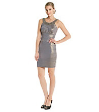 Cachet® Jewelneck Banded Sheath Dress