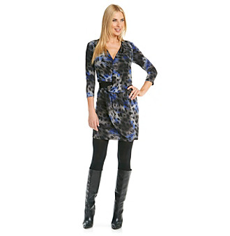 Evan-Picone® Surplice Drapefront Printed Dress