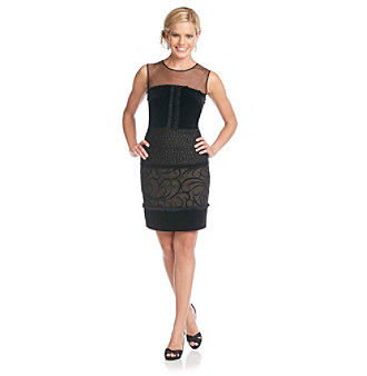 S.L. Fashion Petites' Mixed Media Sheath Dress