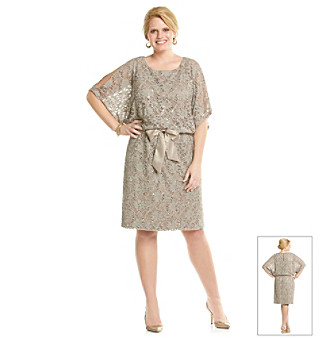 Jessica Howard® Plus Size Cold Shoulder Blouson Lace Dress