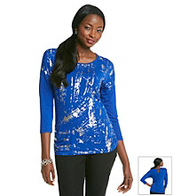 Laura Ashley Metallic Brush Stroke Dolman Top