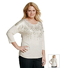 Laura Ashley® Plus Size Foil Animal Print Dolman Top
