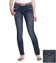 Wallflower Vintage® Juniors' Belted Flap Back Skinny Jeans