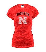 Soffe® Juniors' Nebraska Glitter Burnout Tee