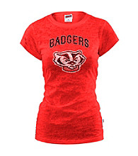 Soffe® Juniors' Wisconsin Glitter Burnout Tee