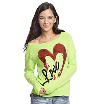 Grane® Juniors' Hybrid Green Bling Heart Tissue Fleece
