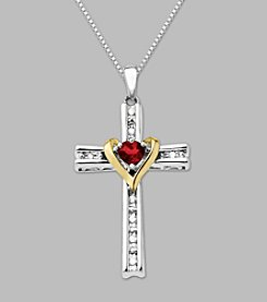 Created Ruby and White Sapphire Cross Pendant Necklace