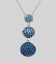 Blue Crystal Pendant Necklace in Sterling Silver