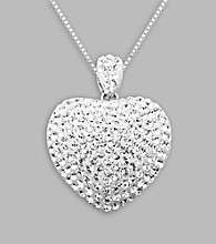 White Crystal Heart Pendant Necklace in Sterling Silver