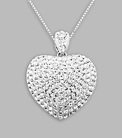 Impressions® White Crystal Heart Pendant Necklace in Sterling Silver
