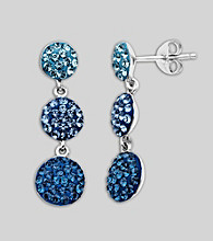 Blue Crystal Earrings in Sterling Silver