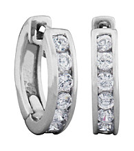 Rhodium Over Brass Cubic Zirconia Hoop Earrings