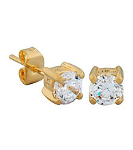 18K Gold Plated Brass 5mm Cubic Zirconia Stud Earrings