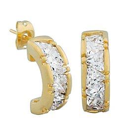 18K Gold Plated Brass Cubic Zirconia J-Hoop Earrings