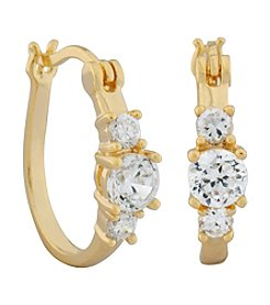 18K Gold Plated Brass Round Cubic Zirconia Hoop Earrings