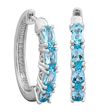 Rhodium Brass Base Oval G Sky Blue Topaz Hoop