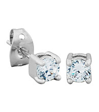 Rhodium Brass Base Cubic Zirconia Round Stud Earring