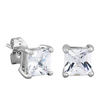 Rhodium Brass Base 6Square 6mm Cubic Zirconia Stud