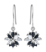 Rhodium Brass Base White Topaz G Sapphire Wire Earring