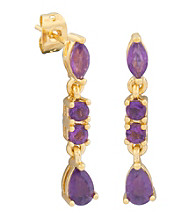 18K Brass Base Marquis Pear Shape Amethyst Drop Earring