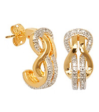 18K Brass Base Diamond Accent Two-Tone J-Hoop Earring