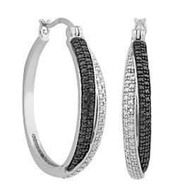 Designs by FMC Rhodium Plated Gun Color Diamond Accent Hoop Earrings