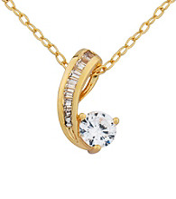 18K Gold over Brass Base Round Cubic Zirconia Pendant Cable Chain 18