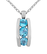Rhodium Brass Base Sky Blue Topaz Pendant on Cable Chain