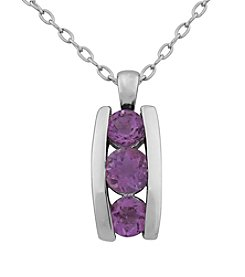 Rhodium Brass Base Amethyst Pendant