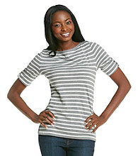 Jones New York Sport® Stripe Button-Shoulder Boatneck Tee