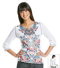 Oneworld® Splitneck Floral Henley Top