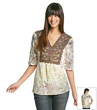 Oneworld® Lace Printed Peasant Tunic