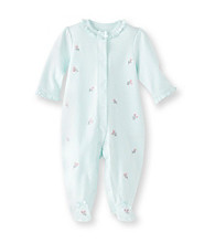 Little Me® Baby Girls' Aqua Rosebud Footie