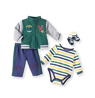 Vitamins Baby® Baby Boys' Green 4-pc. Varsity Creeper Set