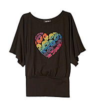 Amy Byer Girls' 7-16 Black Multi Heart Banded Top