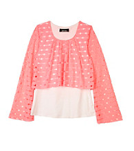 Amy Byer Girls' 7-16 Neon Pink Bell Sleeve Popover Top