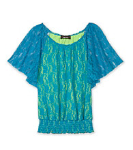 Amy Byer Girls' 7-16 Lace Batwing Top