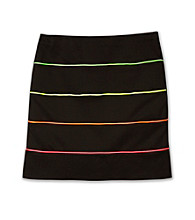 Amy Byer Girls' 7-16 Black Neon Striped Skirt