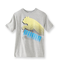 PUMA® Boys' 8-20 Grey Short Sleeve Print Tee