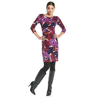 Anne Klein® Floral Print Boatneck Dress