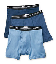 Jockey® Men's Blue Cotton 3-Pack Low-Rise Boxer Briefs
