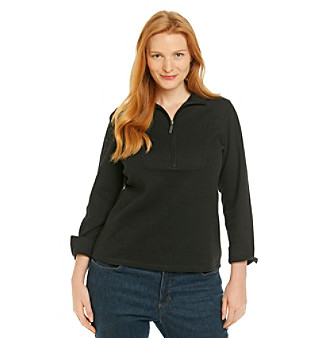 Studio Works® Plus Size Brushed Zip Mockneck Top